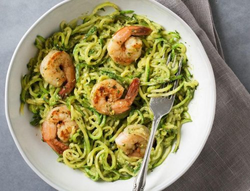 Zucchini Noodles with Avocado Pesto & Shrimp